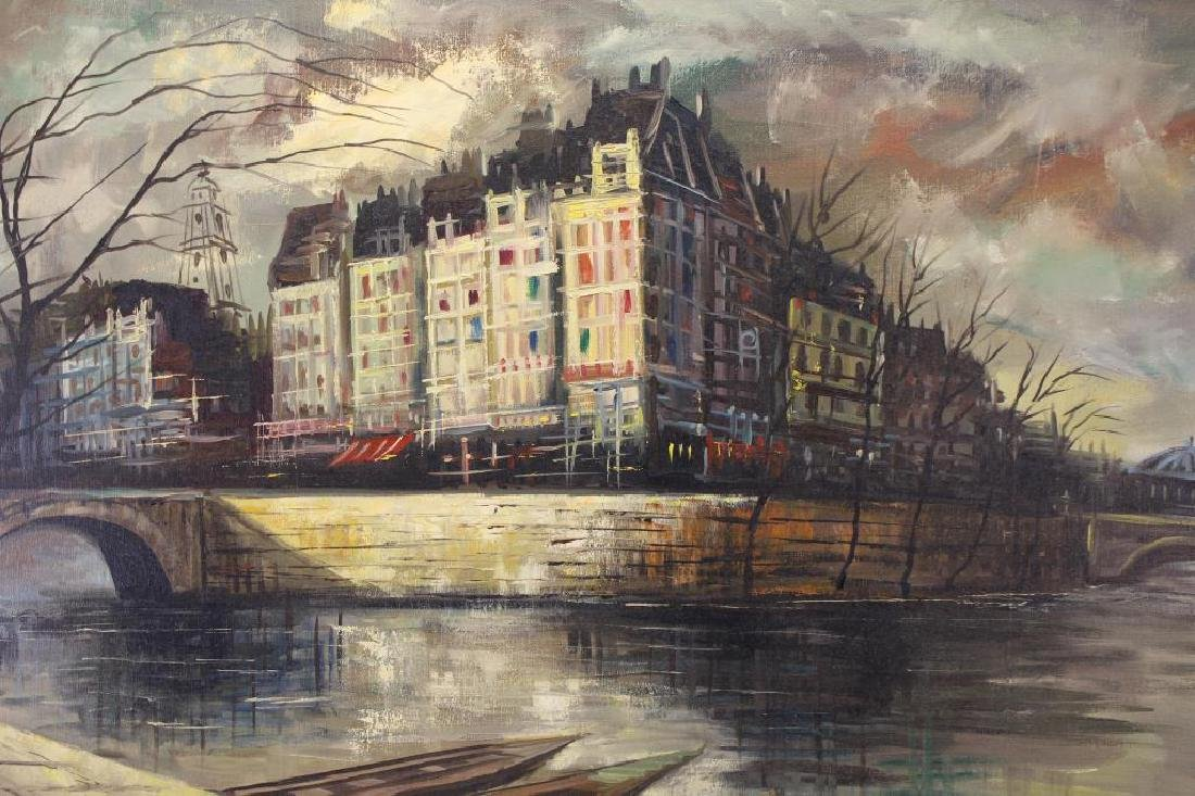 Signed Painting of a Parisian River Scene - 2