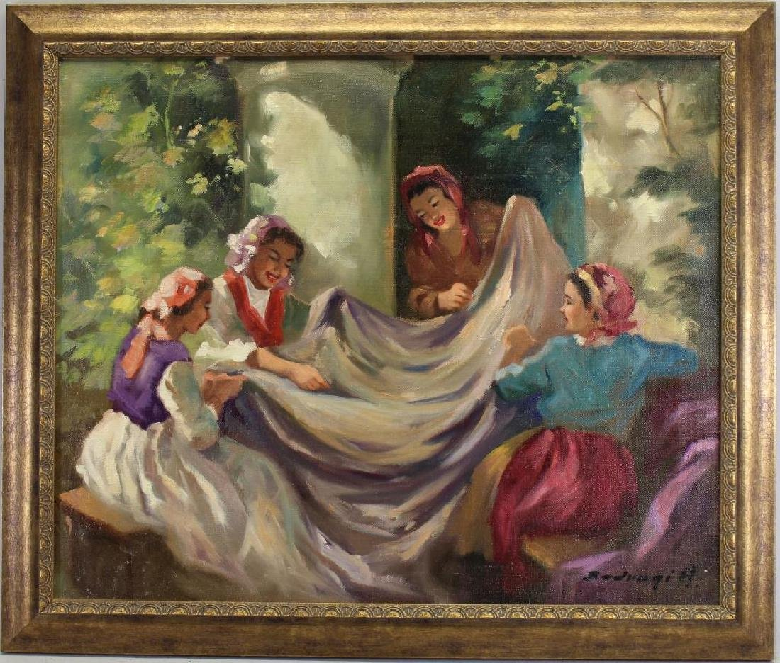 Signed, 20th C. Painting of Seamstresses