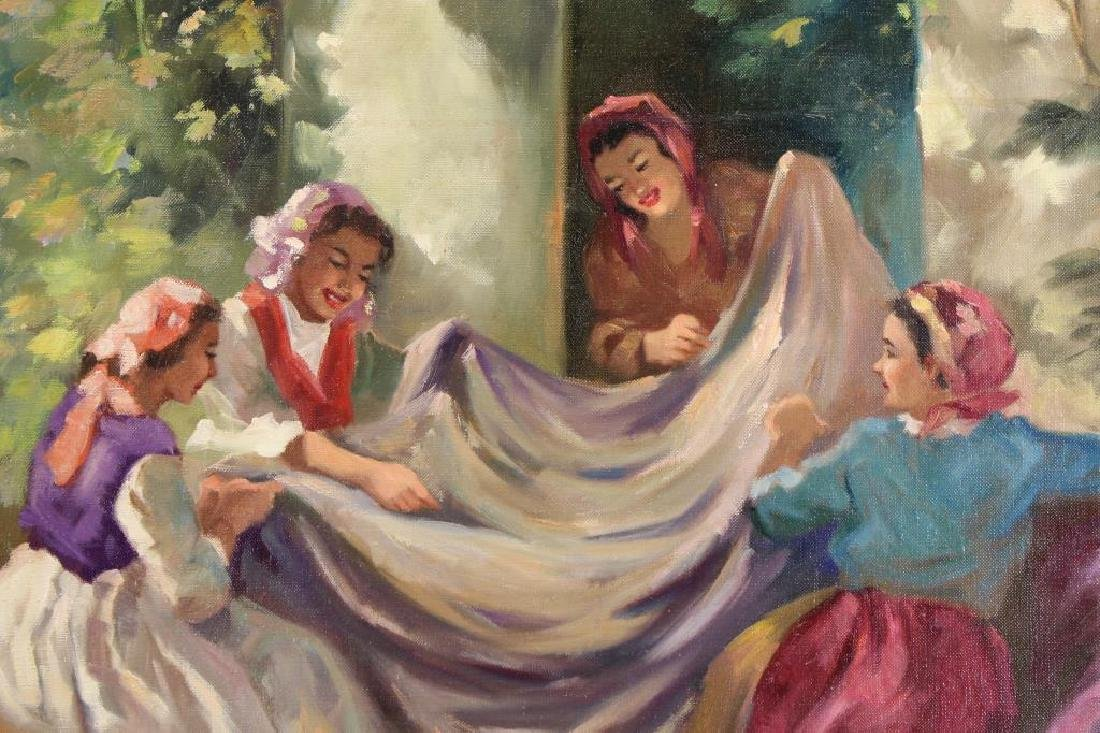 Signed, 20th C. Painting of Seamstresses - 2