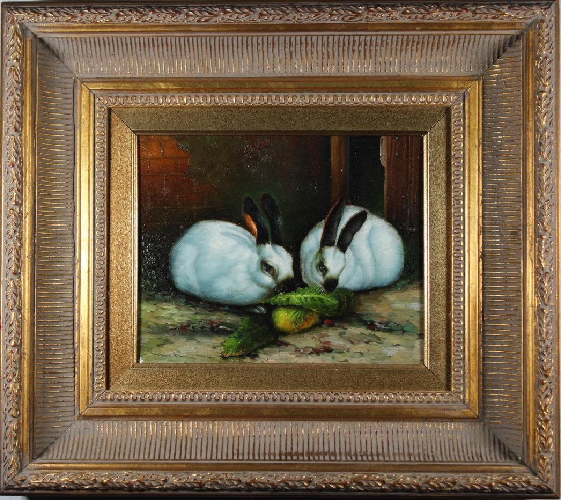 Moritz, Signed 20th C. Painting of Bunnies