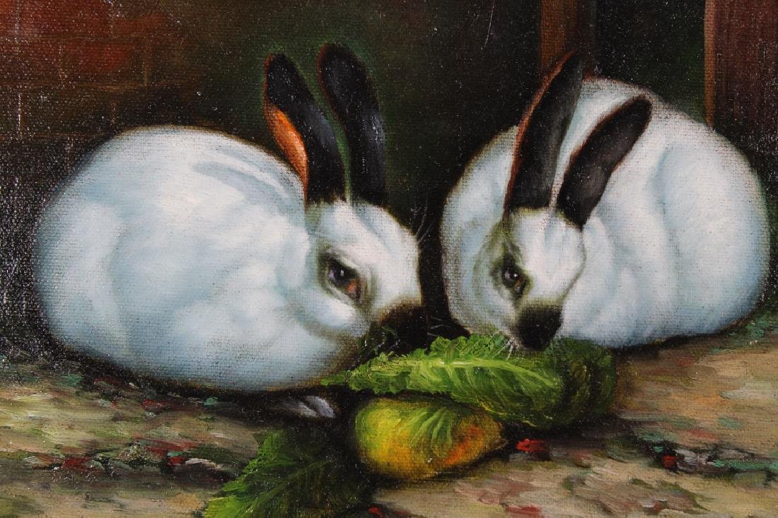 Moritz, Signed 20th C. Painting of Bunnies - 2
