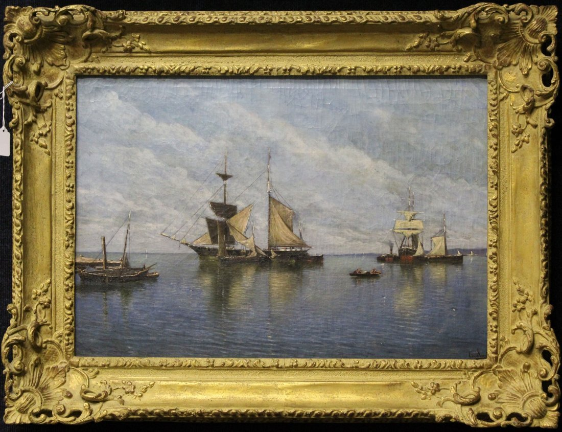 American School, 19th C. Signed Harbor Scene