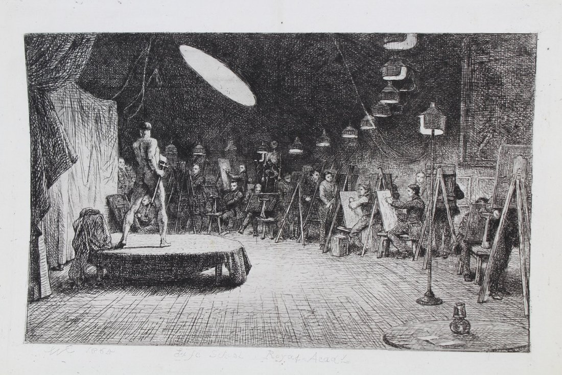 "1865 ""Life School, Royal Academy"" Etching"