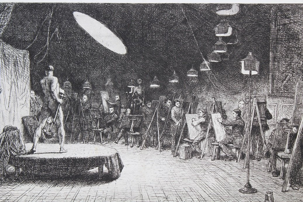 "1865 ""Life School, Royal Academy"" Etching - 2"