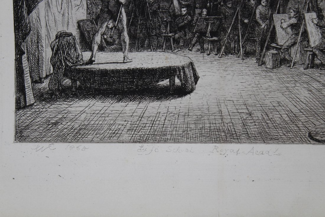 "1865 ""Life School, Royal Academy"" Etching - 3"