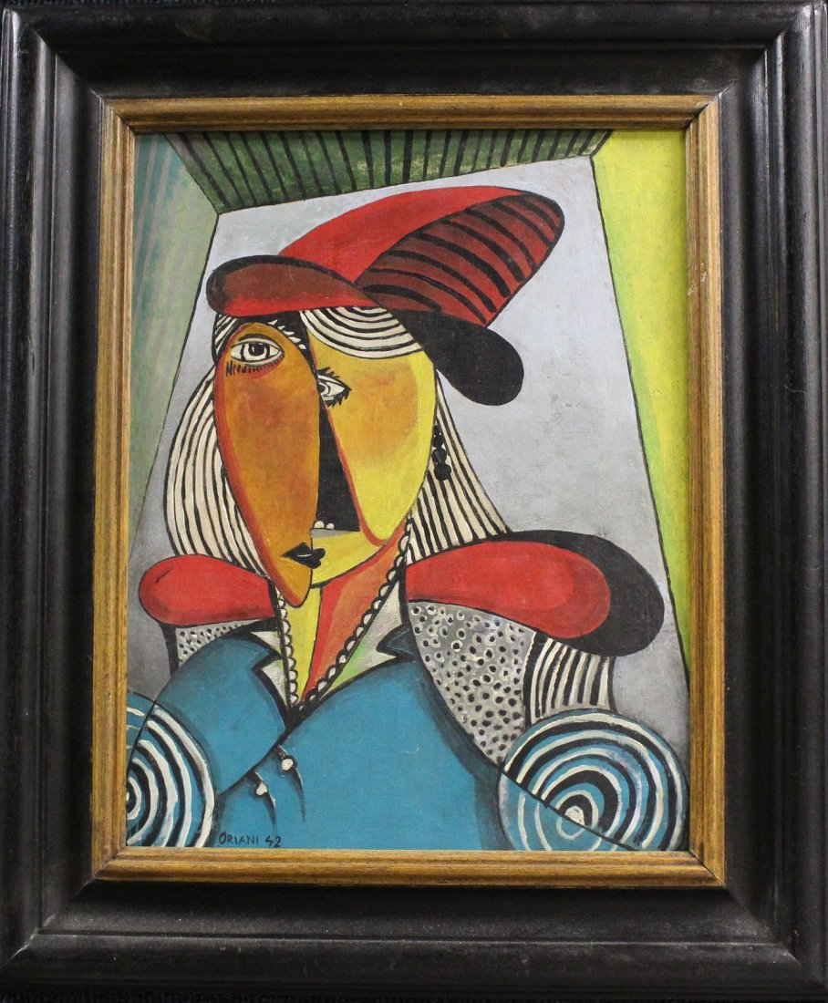 Oriani, Vintage Signed Cubist Abstract Painting