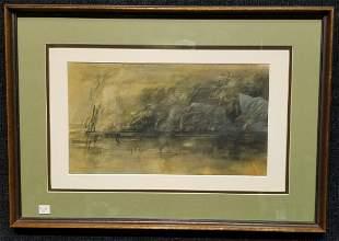 Initialed Coastal Tonalist Watercolor