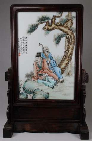 Signed, Chinese Porcelain Figural Plaque on Stand