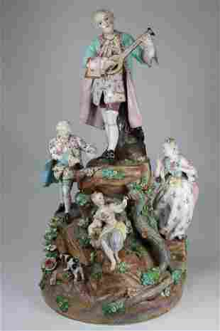 Large Antique Porcelain Figural Group, Signed