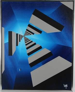 """Black Grey Blocks"", Signed Surrealist Painting"