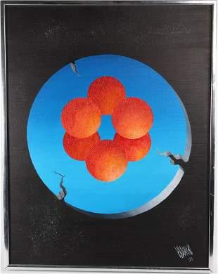 """Six Orange Balls"" Signed Surrealist Painting, '77"