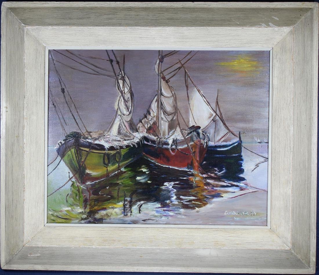 Signed, Early 20th C. Painting of Docked Sailboats