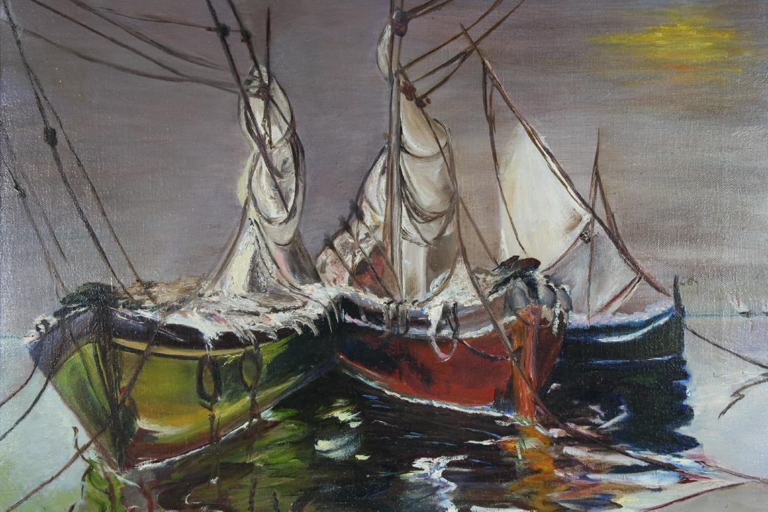 Signed, Early 20th C. Painting of Docked Sailboats - 2