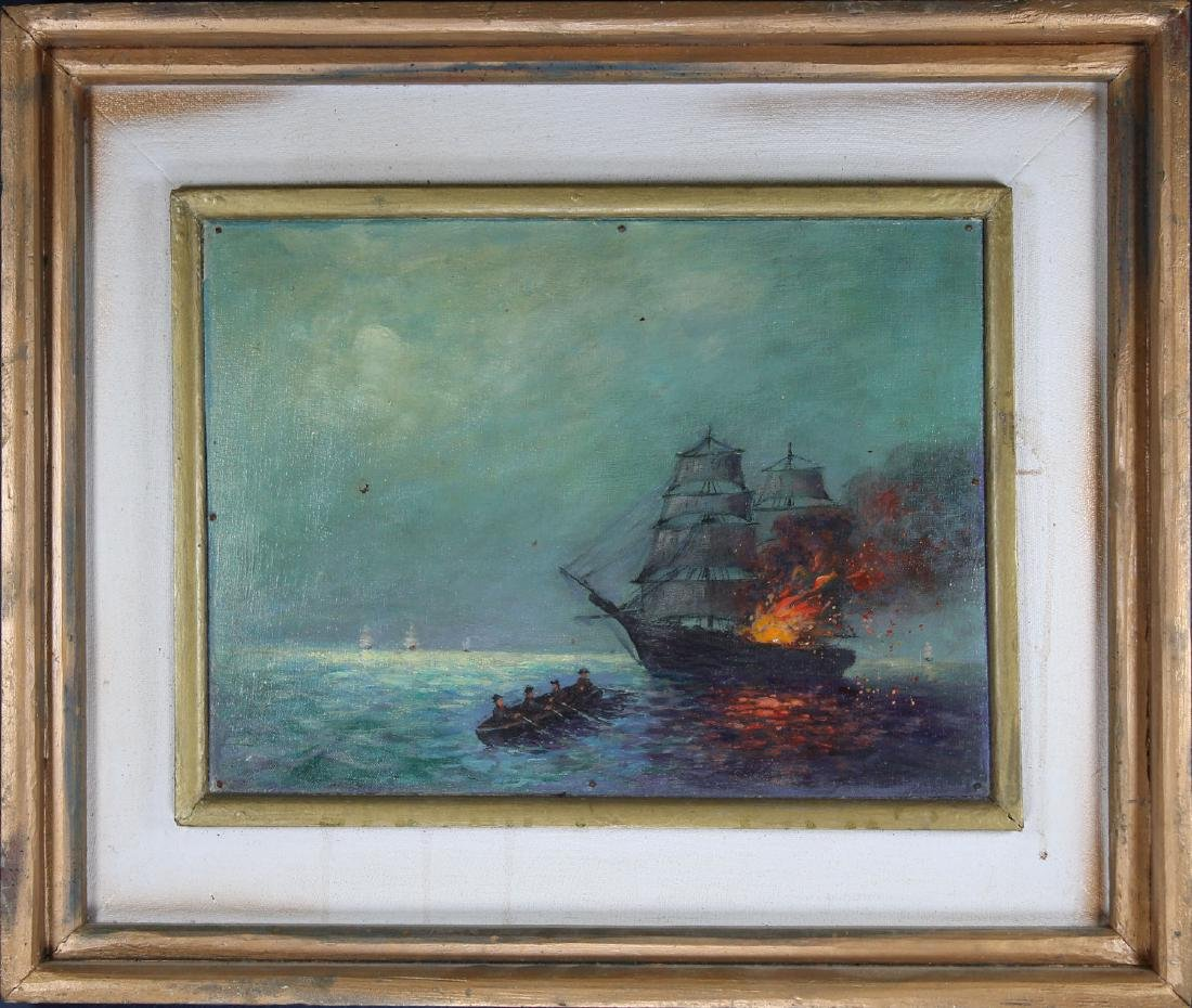 19th C. Nautical Battle Scene at Night, Signed