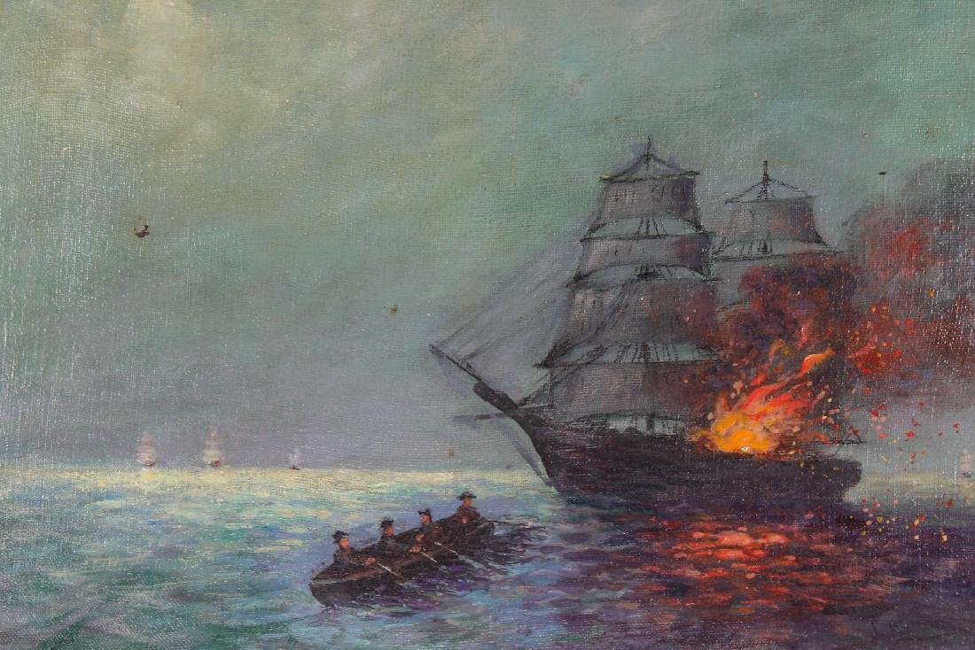 19th C. Nautical Battle Scene at Night, Signed - 2