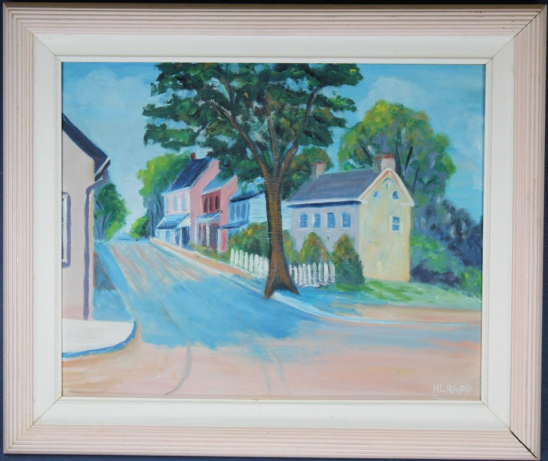 Rapp, Vintage Painting of New England Town