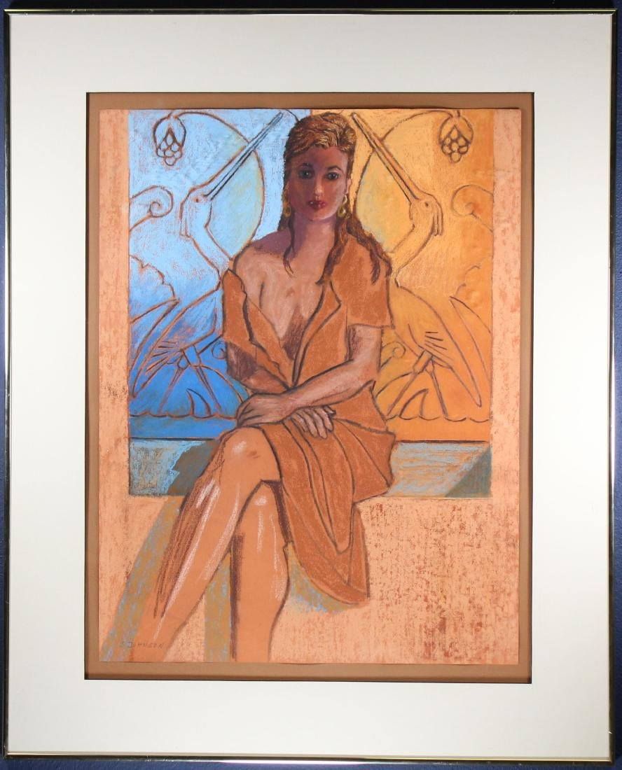 Vintage, Pastel Portrait of a Seated Young Woman