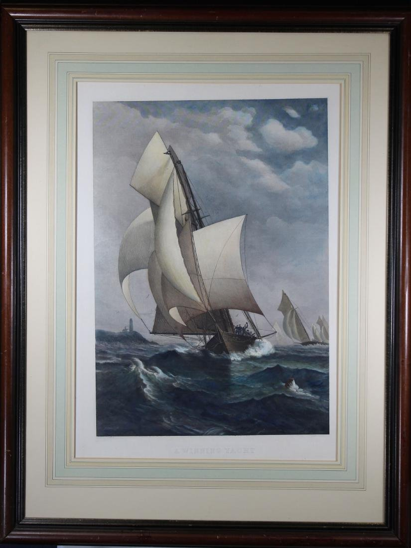 """A Winning Yacht"", Framed Colored Engraving"
