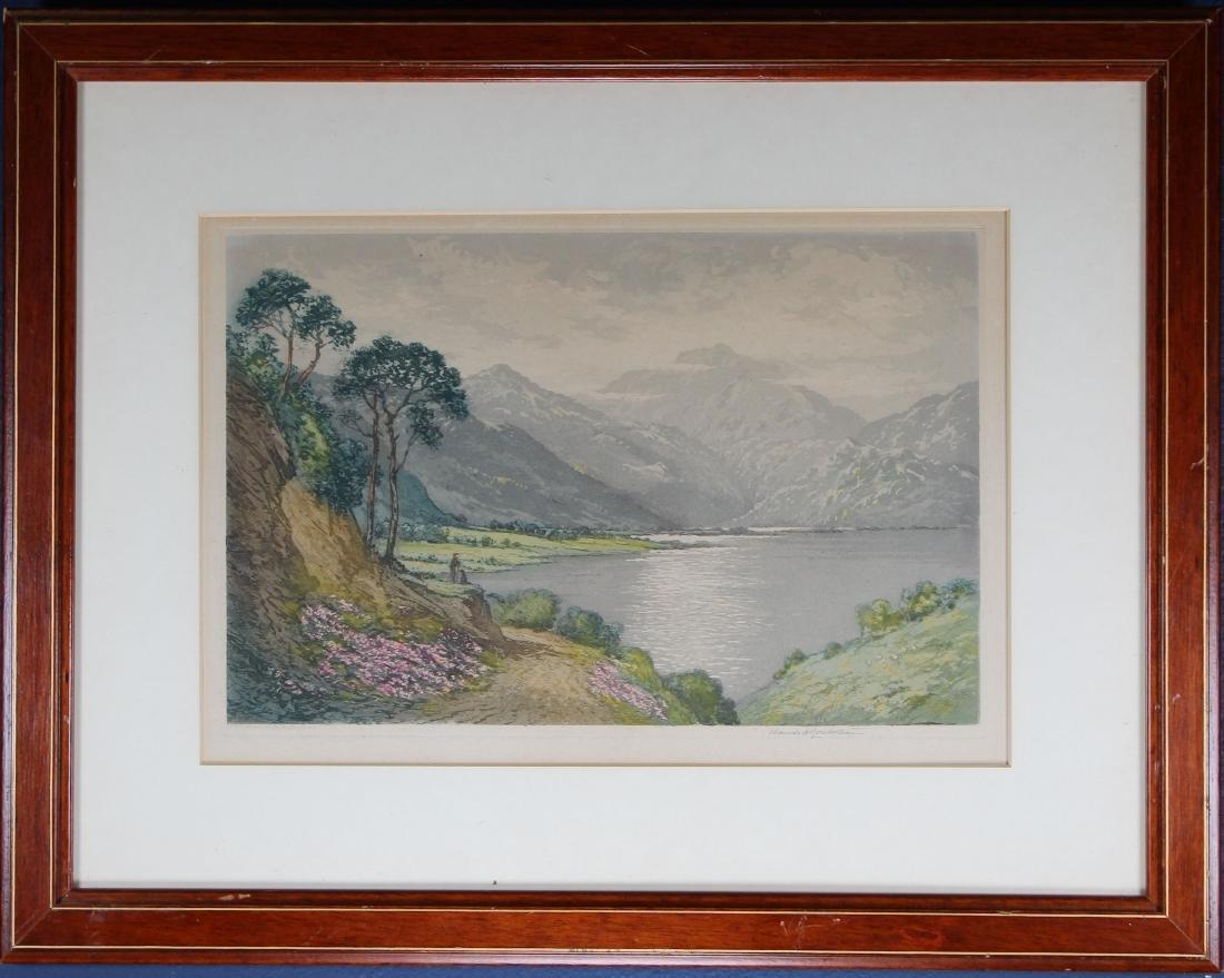 Antique Colored Engraving of European Landscape