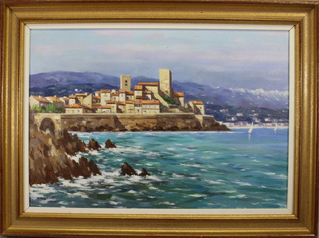 Italian School, 20th C. Coastal Painting. Signed
