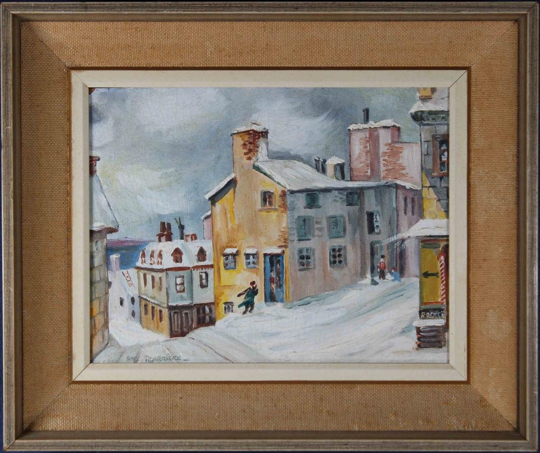 Signed, 20th C. Winter Village Scene with Figures
