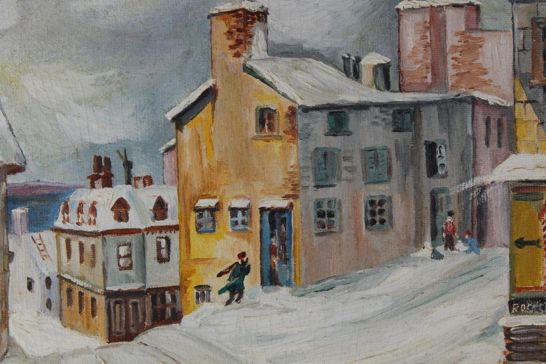 Signed, 20th C. Winter Village Scene with Figures - 2