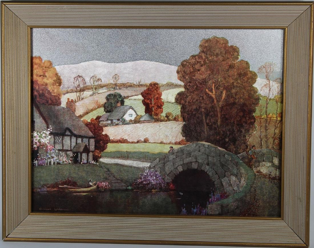 Vintage Countryside Landscape with Figures, Signed