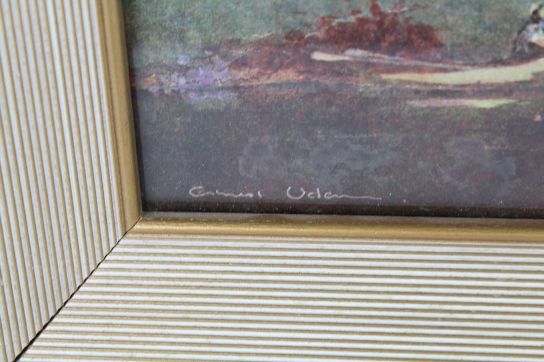 Vintage Countryside Landscape with Figures, Signed - 3