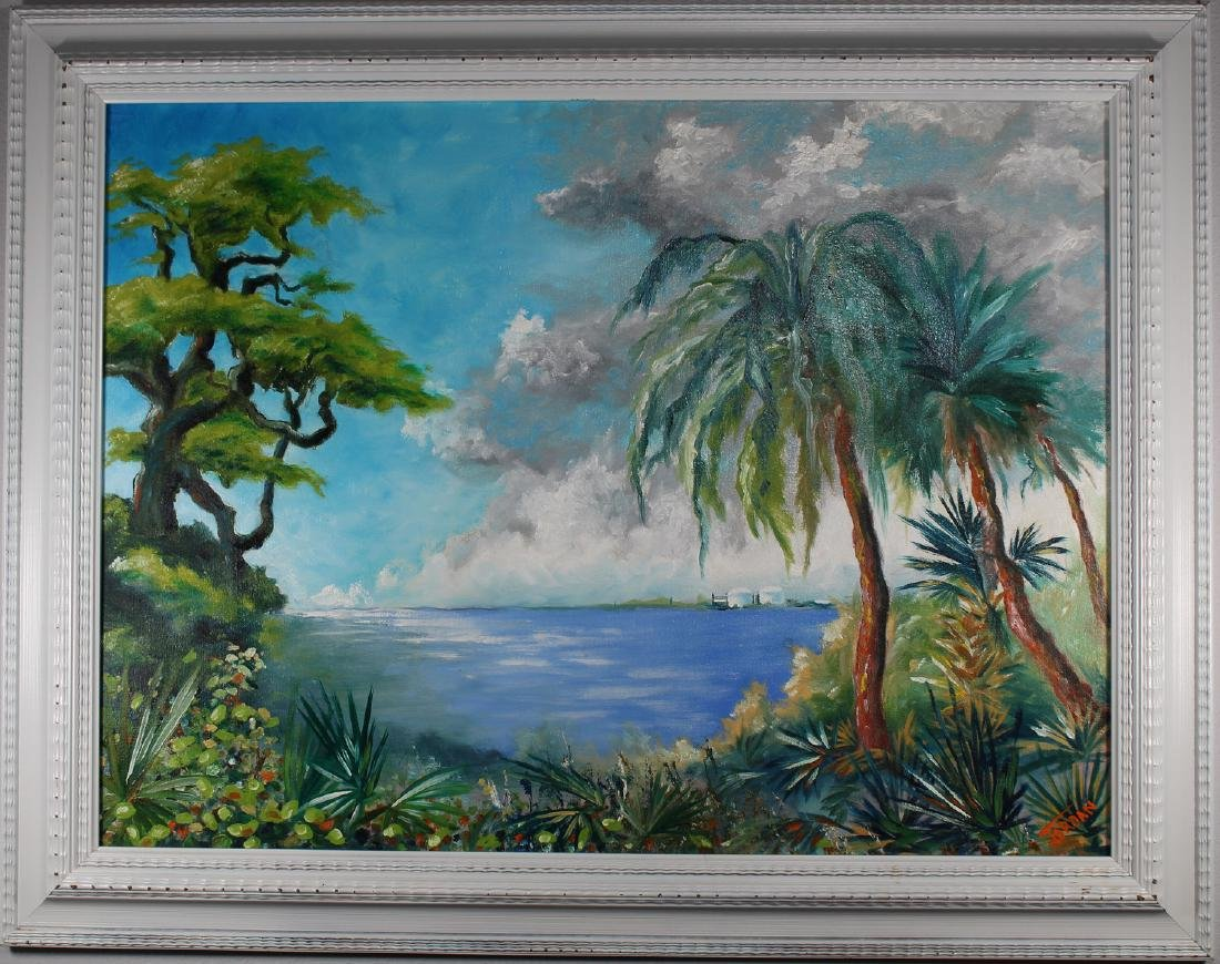 Florida School, Signed Coastal Scene
