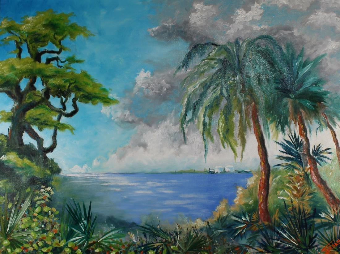 Florida School, Signed Coastal Scene - 2