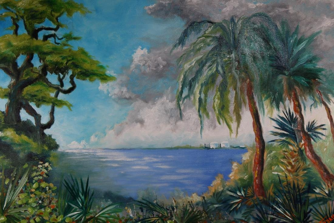 Florida School, Signed Coastal Scene - 3