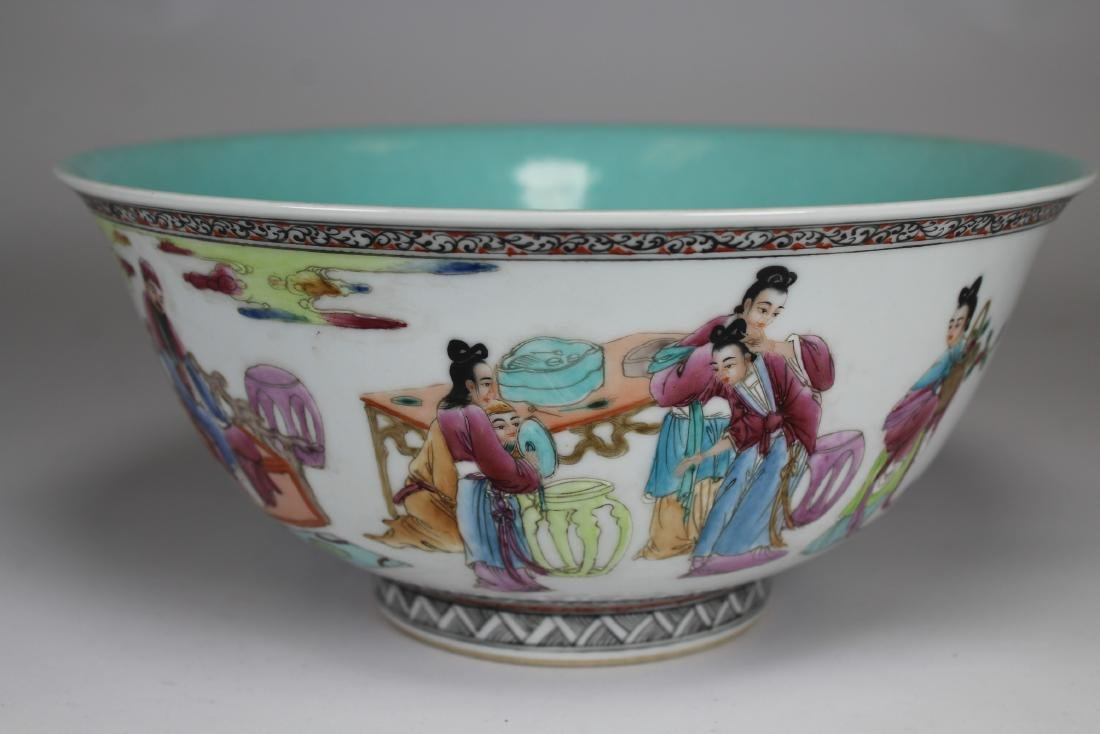 Chinese Porcelain Figural/Calligraphy Bowl, Signed - 5