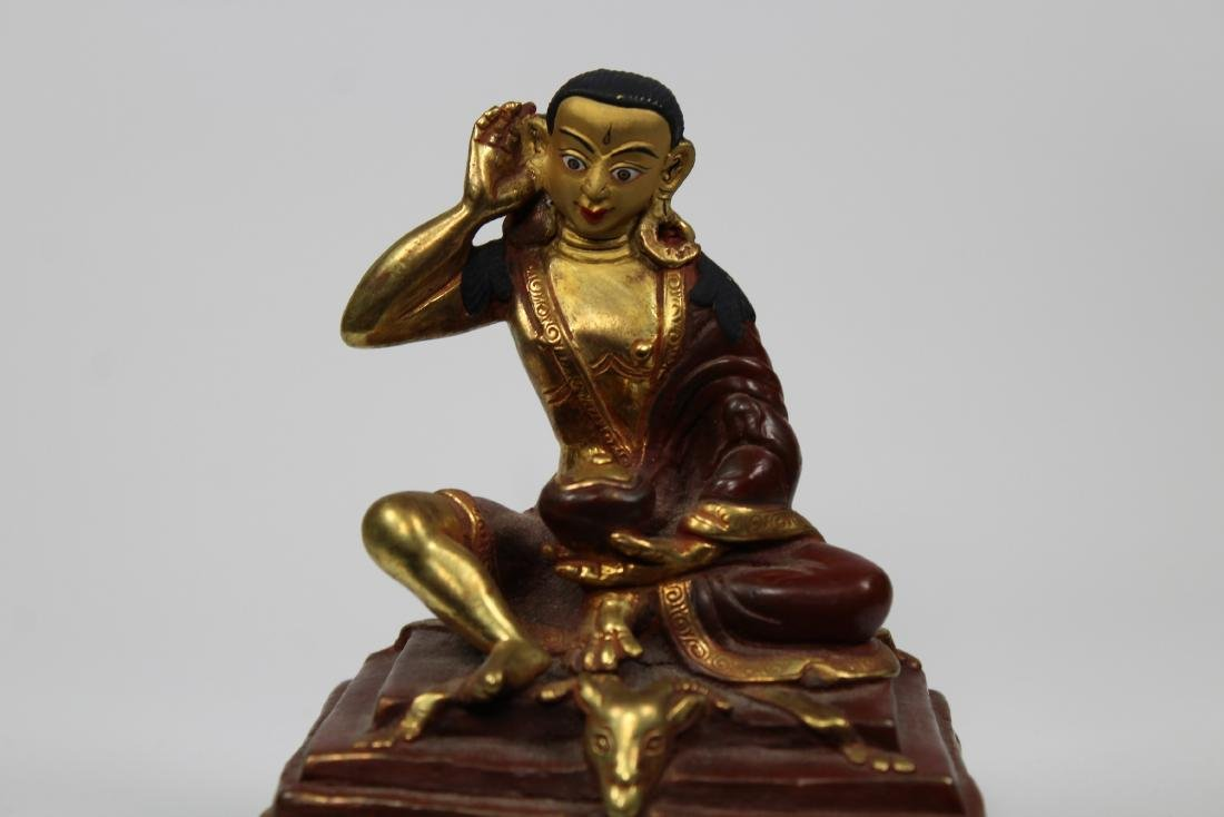 Gilt Bronze Antique Millarepa Indian Yogi Teacher - 2