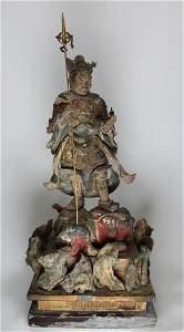 Signed, Carved Edo Period Kamakura Hinoki Warrior