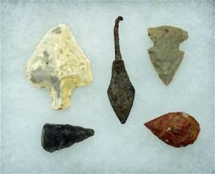5 Ancient Projectile Points Oldest ca 30000BC