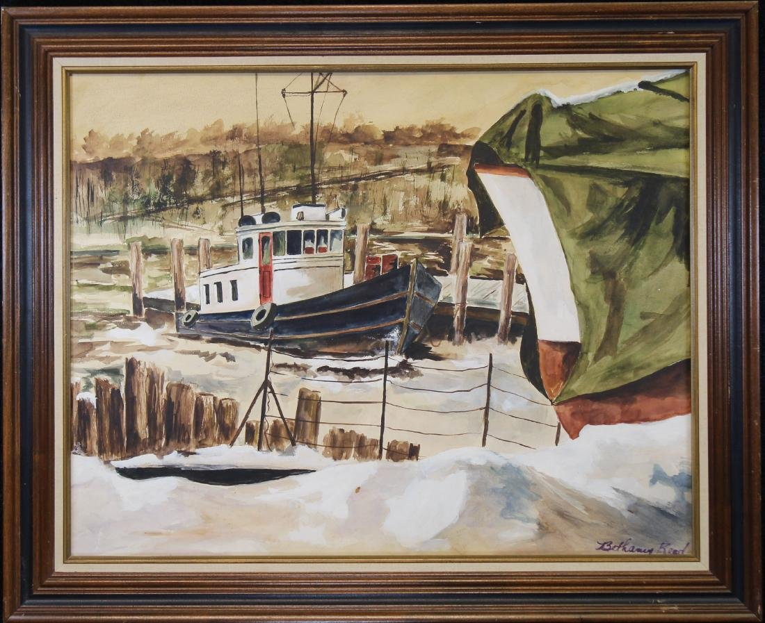 Signed, 20th C. Watercolor of a Harbor Scene