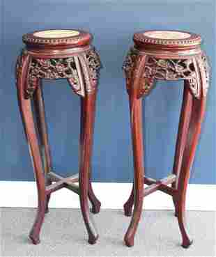 Pair of Carved Chinese Marble Inset Plant Stands