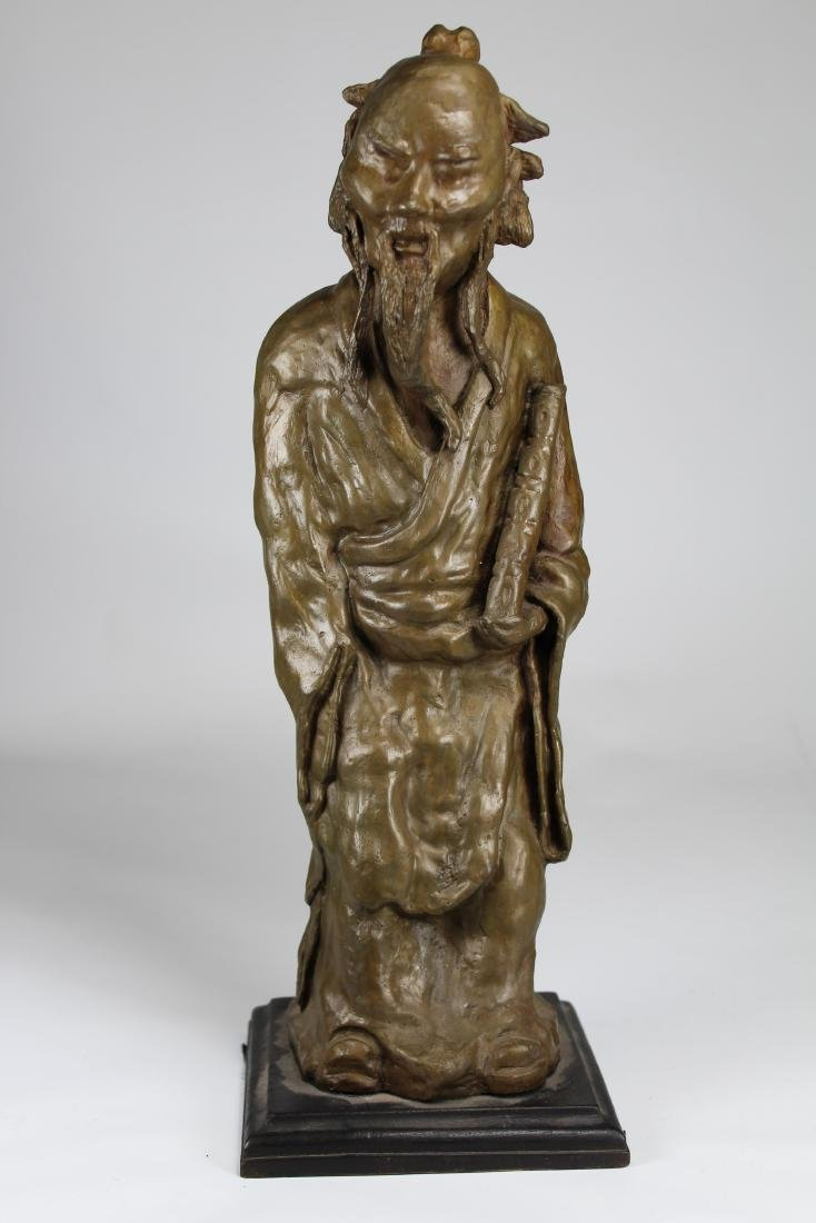 Signed, Chinese Bronze Scholar Sculpture - 2