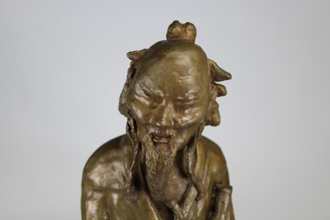 Signed, Chinese Bronze Scholar Sculpture - 3