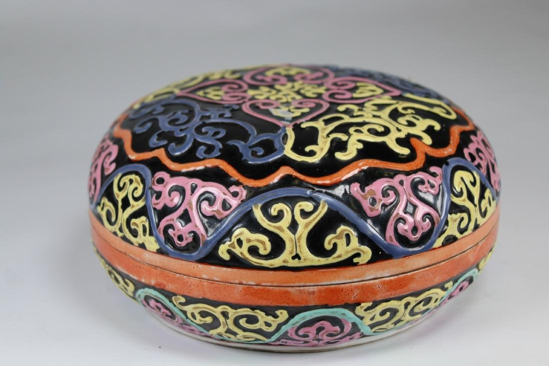 Chinese Black Ground Covered Porcelain Box