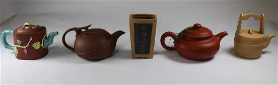 (5) Signed Chinese Clay Vessels, 4 Teapots