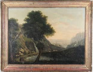 Fine 18th C Old Master Landscape w Figures