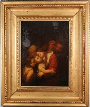 18th C Interior Painting of Mother Children