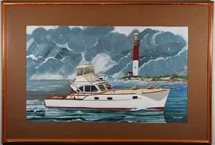 Huntington Illustration of a Boat near Lighthouse