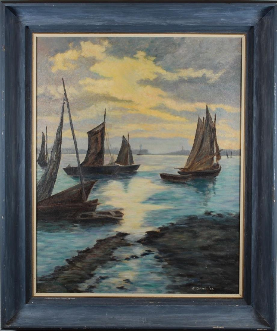 Crites '54 Signed Harbor Scene with Sailboats
