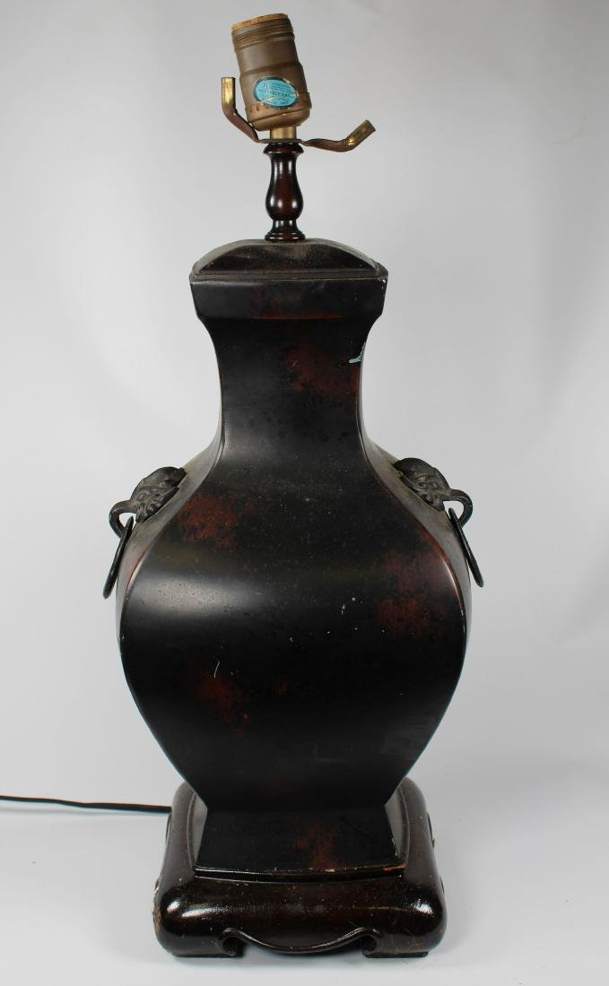 Chinese Bronze Twin Handled Urn Form Lamp
