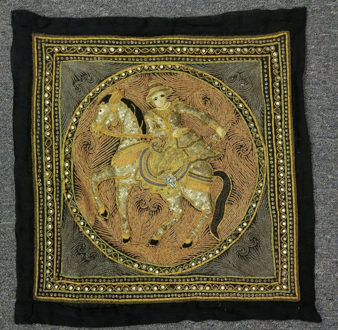 Burmese Kalaga Textile w/ Equestrian Rider