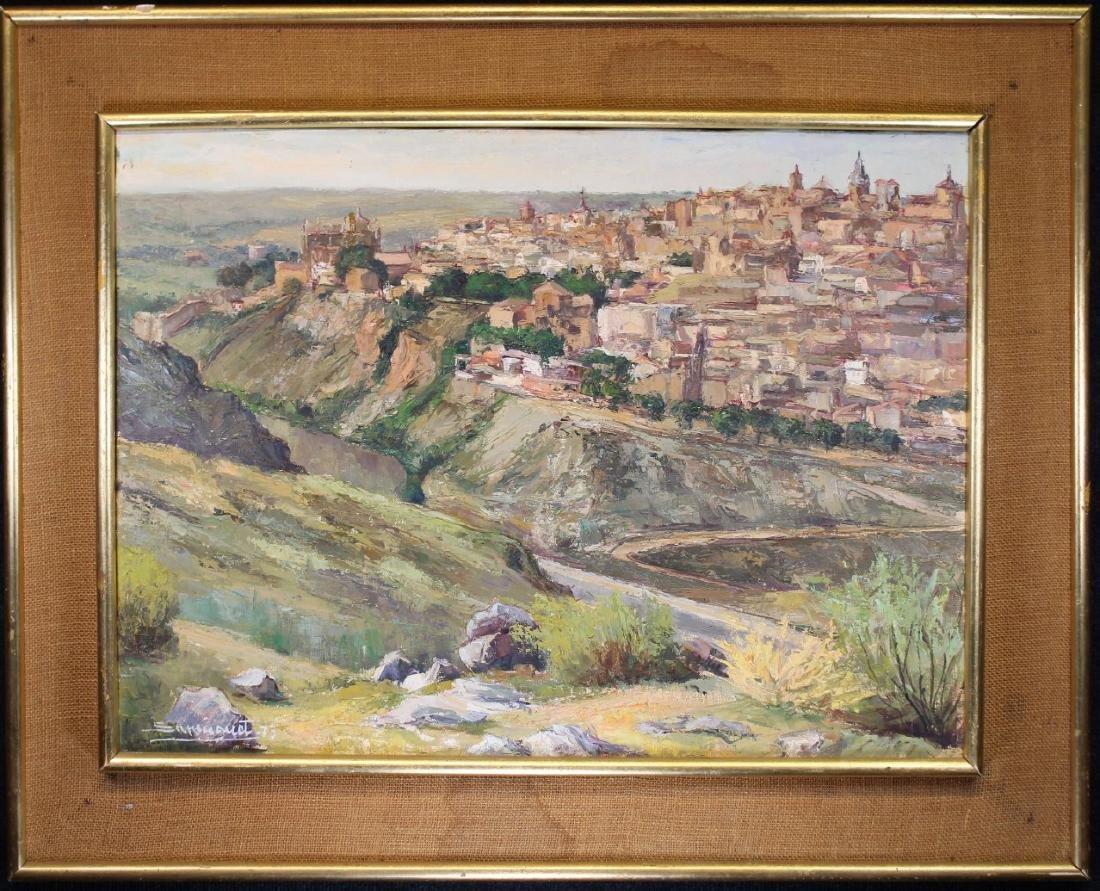 Spanish School, Signed Village Scene. 20th C.