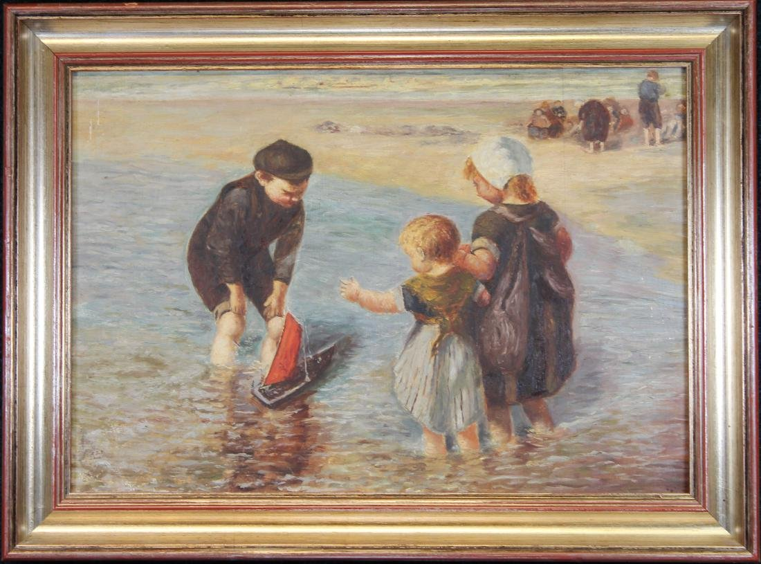 Early 20th C Painting of Children Playing at Beach