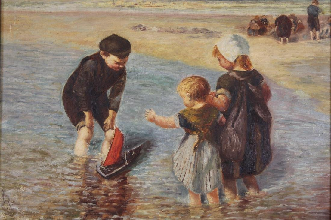 Early 20th C Painting of Children Playing at Beach - 2
